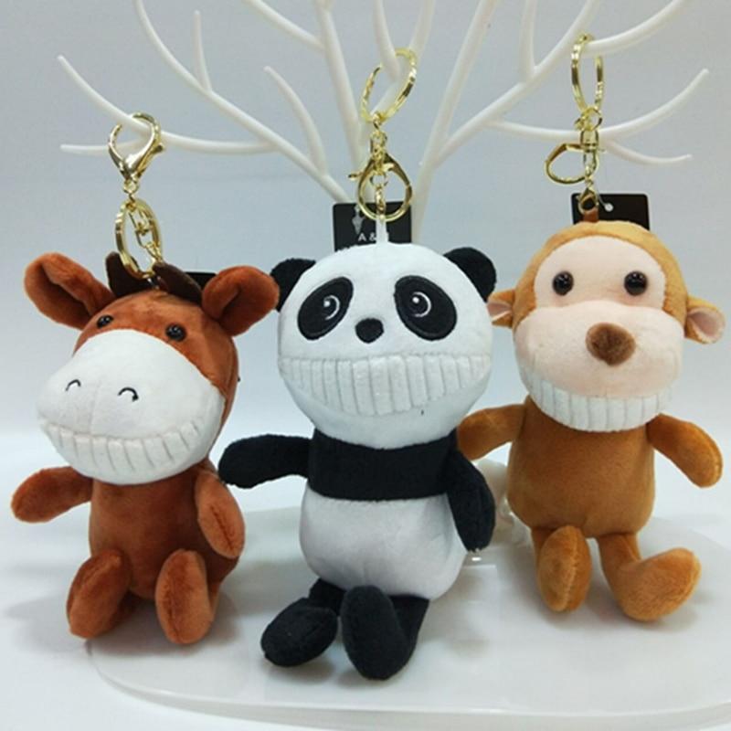 16 cm Cute Toothy Animal Plush Toy Pendant Panda Elephant Monkey PP Cotton Stuffed Animals Dolls Key Pendant Christmas Gift
