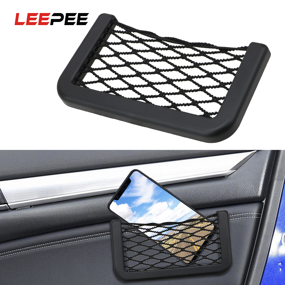 LEEPEE 15X8cm Car Net  Bag Car Organizer Nets Automotive Pockets Adhesive Visor Car Syling Bag Storage For Tools Mobile Phone