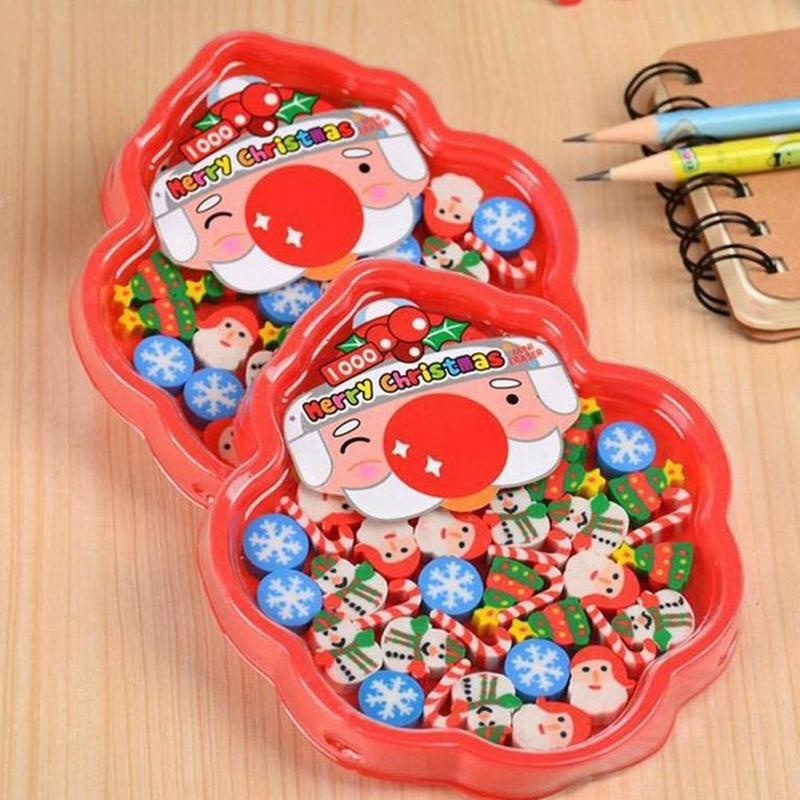 30pcs/1box Creative Christmas Eraser Primary School Stationery Prizes Cute Cartoon Disk Mounted Rubber Christmas Children Gifts