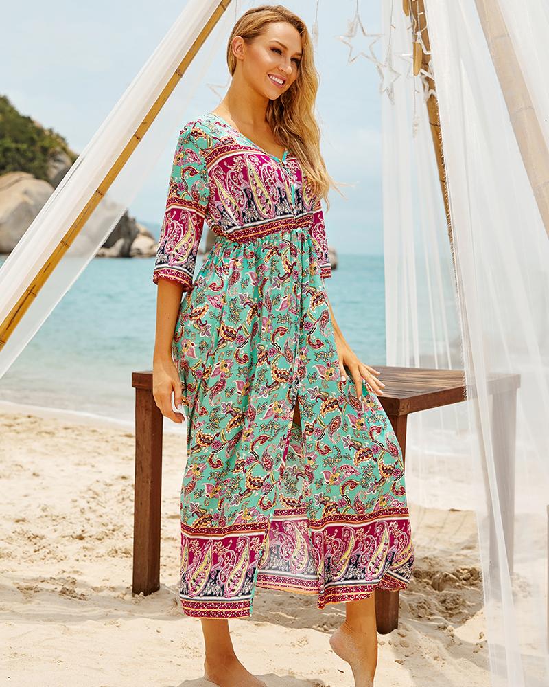 H5c4a4c8b91c241d89c1134a56f8a140bi - Sexy Bikini Cover ups Cotton Tunic Boho Printed Summer Beach Dress Elegant Women Plus Size