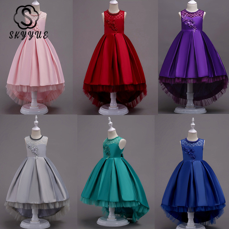 Skyyue Flower Girl Dress For Wedding Embroidery Pearls Tulle Tank Ball Gown Long Kids Party Communion Dresses Princess 2019 580