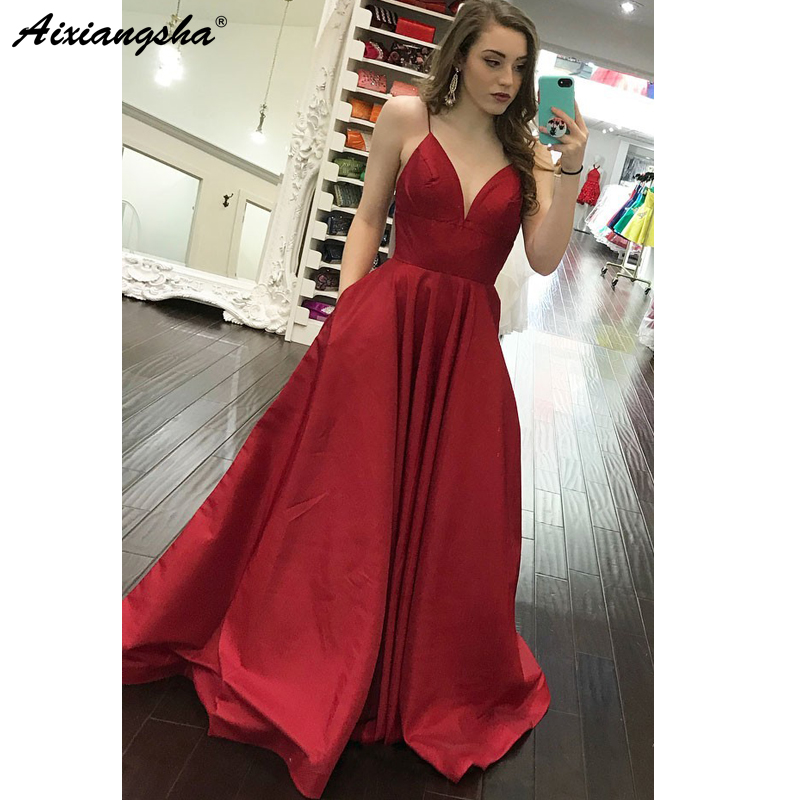 Red 2019   Prom     Dresses   A-Line Spaghetti Straps Satin Party Maxys Long   Prom   Gown with Pockets Evening   Dresses   Robe De Soiree