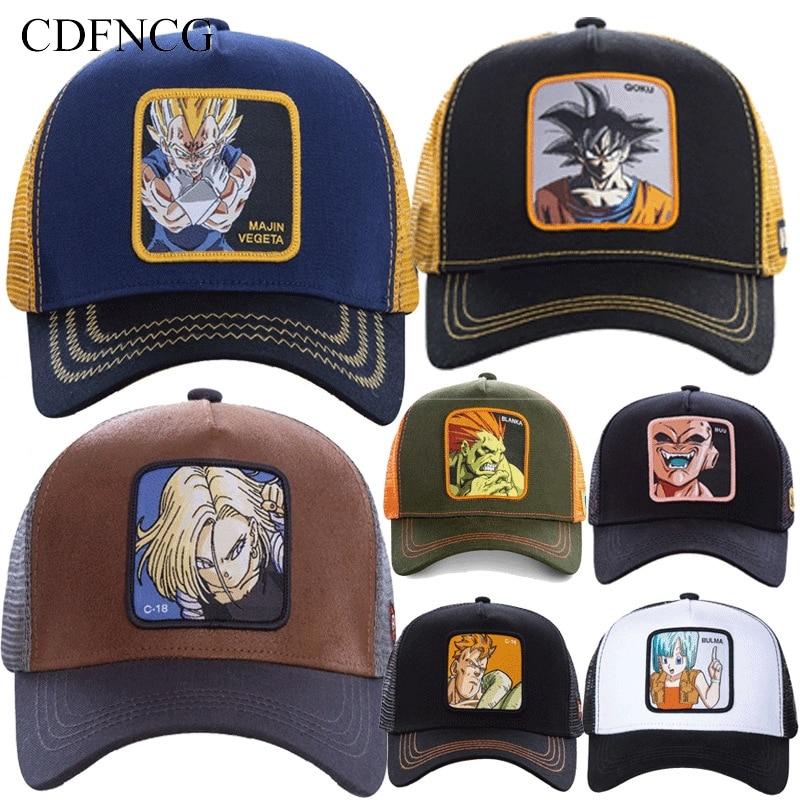 CDF 2019 Summer Snapback Pop Anime Cartoon Embroidery DRAGON BALL Goku Baseball Cap Streetwear Cotton Sun Dad Hat For Men Women