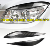 1 Pair Of Car Decorative Stickers For Mercedes Benz W204 C180 C200 C300 C350 C63 Black Car Eyebrow Eyelid Light Sticker