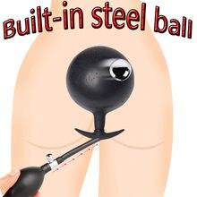 Neue Gebaut-in Stahl Ball Aufblasbare Anal Plug Butt Plug Anal Spielzeug Vaginal Anal Dilatator Pumpe Dildo Homosexuell Sex spielzeug Für Frauen Und Männer