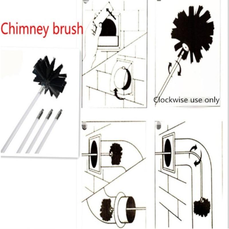 9PCS Chimney Brush Boiler Brush Set Long Handle Flexible Pipe Chimney Brushs Household Chimney Boiler Dryer Cleaning Tools Kit