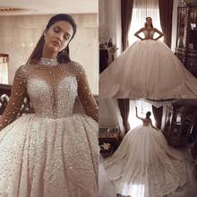 Luxe Kralen Baljurk Trouwjurken Lange Mouwen Crystal Hoge Kraag Plus Size Arabische Bruidsjurken Vintage Robe De Marie