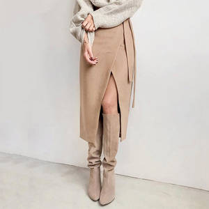 Wrap Skirt Suede Office Khaki Autumn High-Waist Winter Casual Women Ladies Elegant Lace-Up