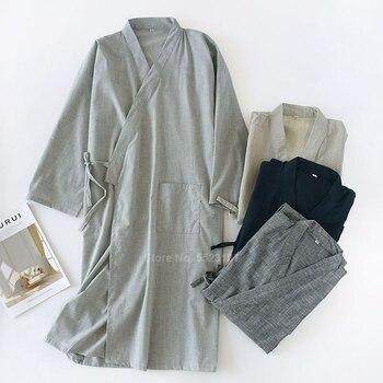 Japanese Style Yukata Robe For Men Solid Cotton 2020 Spring Summer Kimono Sauna Wear Sleepwear Pajamas Kimono Gown Breathable