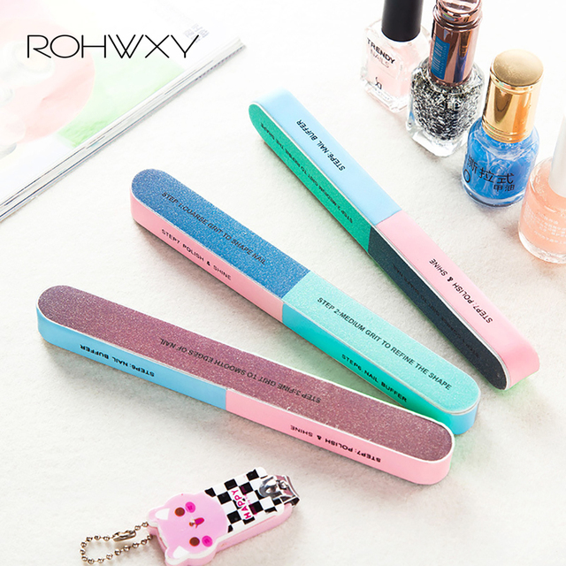 ROHWXY 3Pcs Six-sided Polishing File Nail Tool Block Sanding Pedicure Nail File Sanding Professional Nail File Cuticle Pusher 1