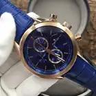 Reloj cronógrafo para hombre de oro plateado de acero inoxidable de marca de lujo nuevo reloj deportivo de cuero negro azul Casual AAA +