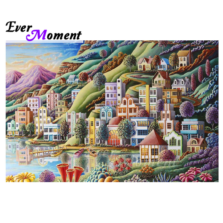 Ever Moment Diamond Painting Picture Of Rhinestone Mosaic Colorful Buildings Seaside Full Square Diamond Embroidery ASF1828