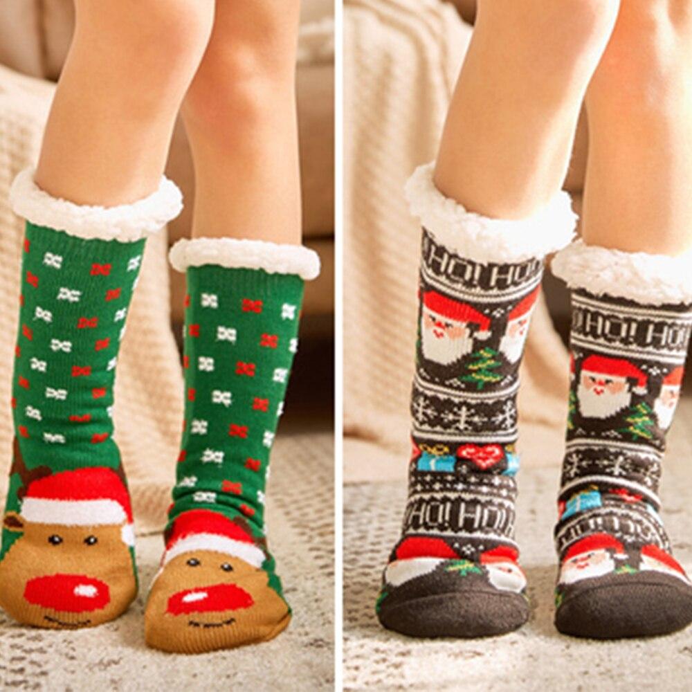 1Pair 2019 Women Winter Socks Thick Plush Cotton Socks Warm Non-slip Home Floor Socks Christmas Gifts Cartoon Carpet Socks