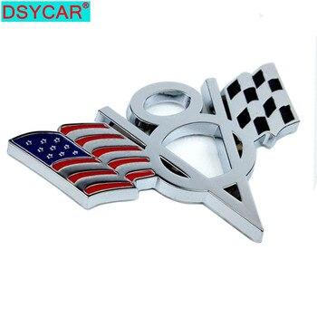 Dsycar 3D métal V8 drapeau américain Moto voiture autocollant Logo emblème Badge voiture style pour Fiat Bmw Ford Lada Audi opel skoda toyota volvo VW