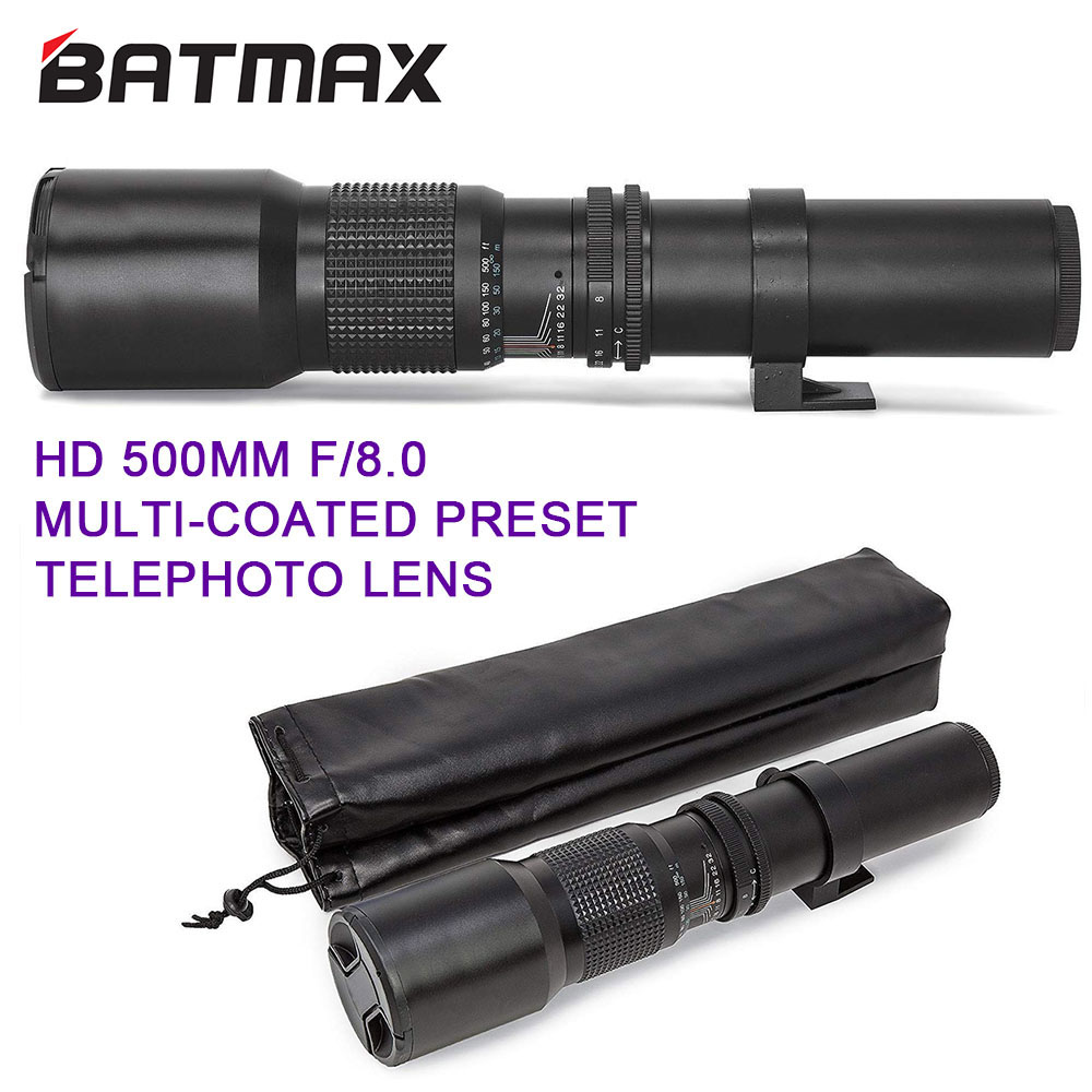 Teleconverter 500mm1000mm f8 lente teleobjetiva manual para canon eos rebel t3