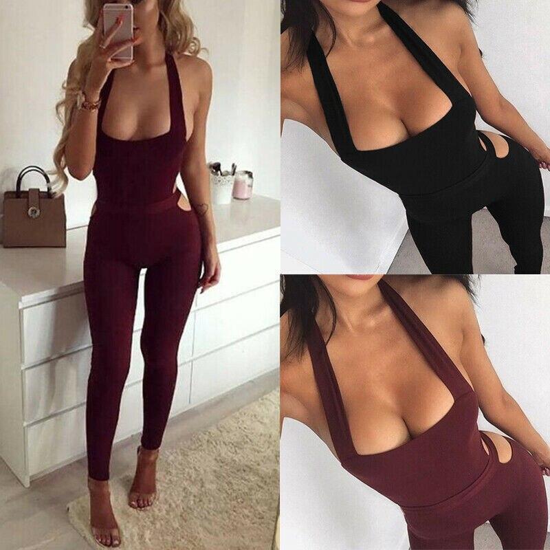 Women Bandage Evening Party Playsuit Workout Fitness Yoga Sports Set Romper Long Pants Jumpsuit Bodycon