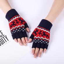 Autumn winter women #8217 s knitted fingerless glove girls lovely Christmas glove winter thicken warm semi-finger driving gloves R350 cheap Acrylic COTTON Adult Gloves Mittens Animal Wrist Fashion