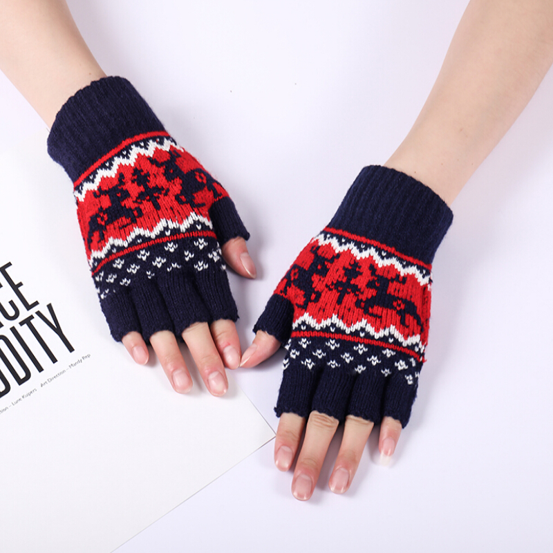 Autumn Winter Women's Knitted Fingerless Glove Girls Lovely Christmas Glove Winter Thicken Warm Semi-finger Driving Gloves R350