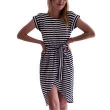Модное женское повседневное летнее мини платье в полоску с коротким