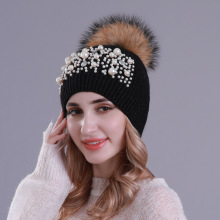 Women's Pompom Beanie Winter Wool Knitted Pearls Beanie Hat with Raccoon Fur Pompom for Women Real Pompom Ball Skullies&Beanies pompom