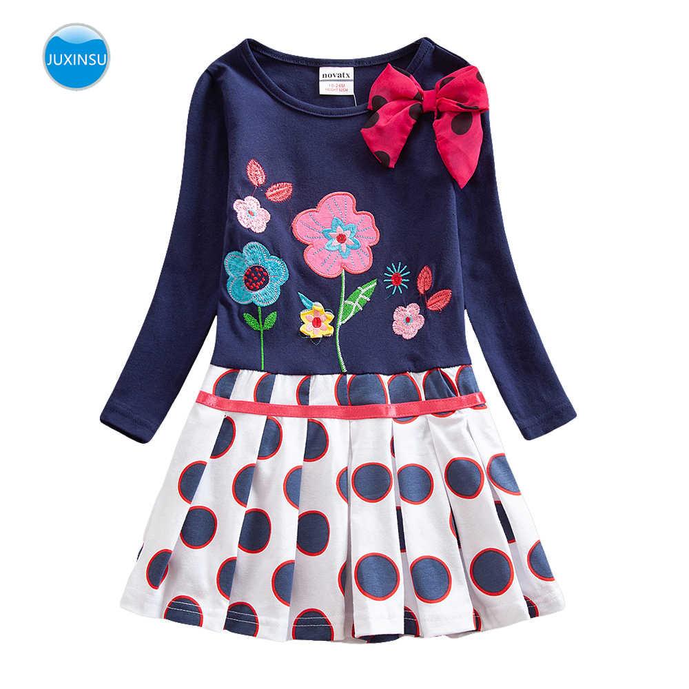 JUXINSU Kız Pamuk Çiçek Nakış uzun kollu elbise Yay Kızlar Sonbahar Kış Rahat Dalga Noktası Elbiseler için 1-8 Yıl