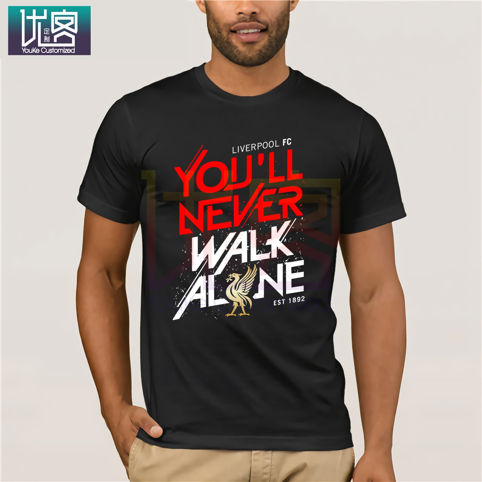 Liverpool You'll Never Walk Alone T-Shirt Clothes Popular T-Shirt Crewneck 100% Cotton Tees Casual Short Sleeve Top