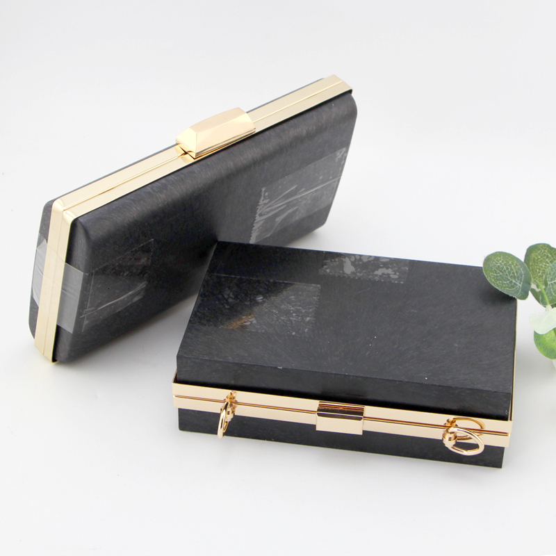 Caixa de Embreagem Lida com Bolsa Carteira com Plástico Mulheres Quadro Bolsa Faça Você Mesmo Acessórios Obag Preto Quadros 18 cm – 22