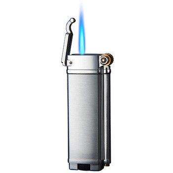 Gas Lighters Windproof Straight Blue Flame Cigar Creative Metal Lighter Mens Gift  Kerosene Lighter  Smoking Accessories недорого