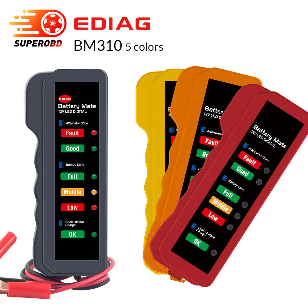 EDIAG BM310 12V  Digital Car Battery Tester Alternator Motorcycle Battery Tester With 6 LED Lights Display PK DUOYI 23/23B KW600