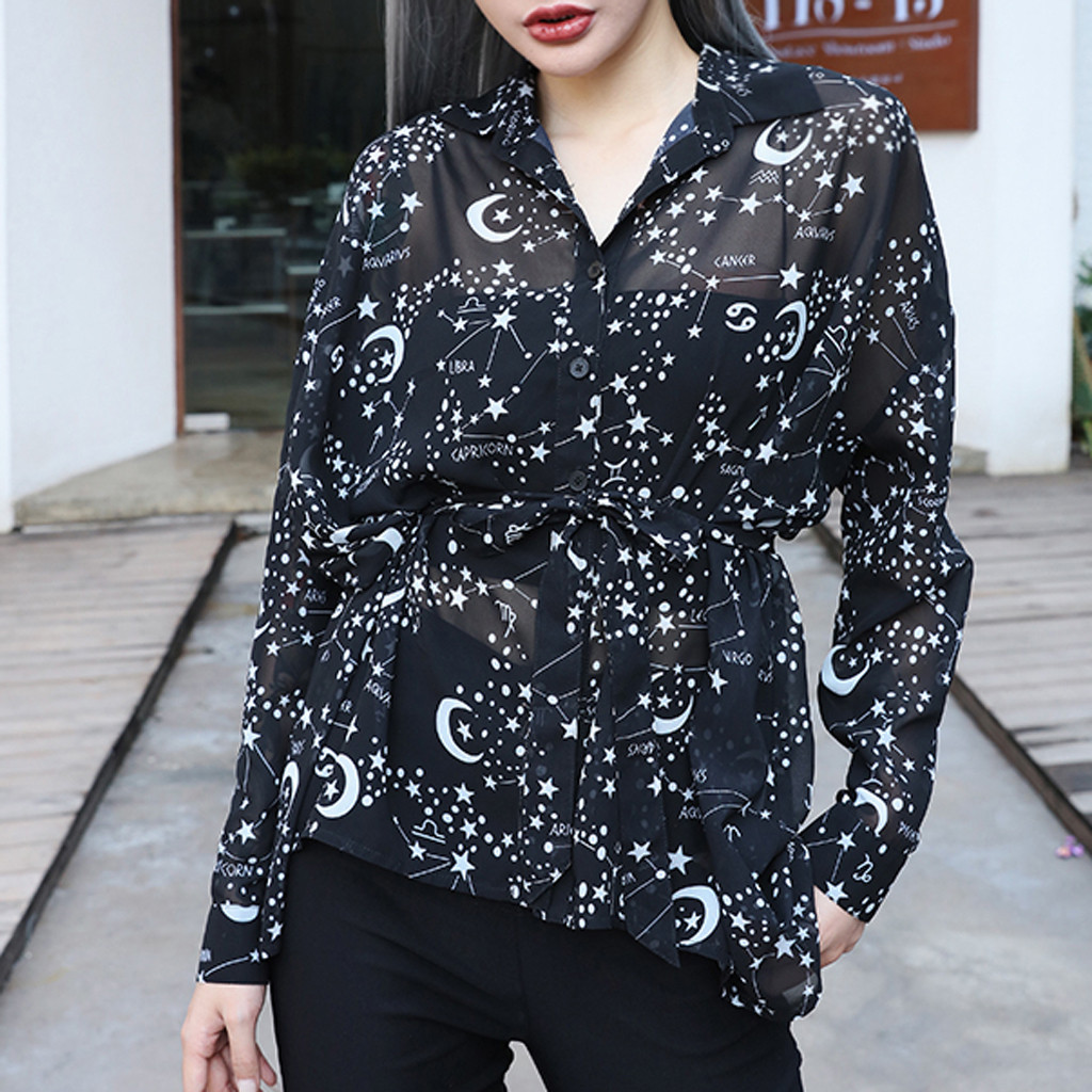 New Fashion Women Loose Gothic Punk Long Sleeve Turn Down Collar Shirts Print Tops Blouse Wholesale Free Ship рубашка женская Z4