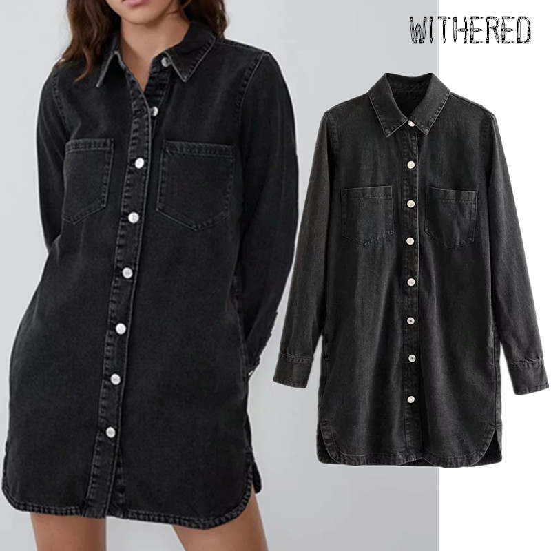 Withered England Vintage Single Breasted Long Shirt Loose Vestidos De Fiesta De Noche Vestidos Mini Denim Dress Women Blazers