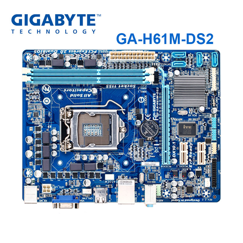 GIGABYTE GA-H61M-DS2 Desktop Motherboard H61 Socket LGA 1155 I3 I5 I7 DDR3 16G UATX UEFI BIOS Original H61M-DS2 Refurbished