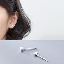 La Monada Silver Earrings Stud Minimalist Square 925 Sterling Fine Jewelry