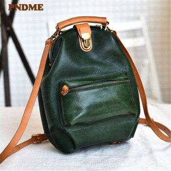 PNDME high quality genuine leather ladies backpack multi-function women small bookbag fashion vintage green cute bagpack
