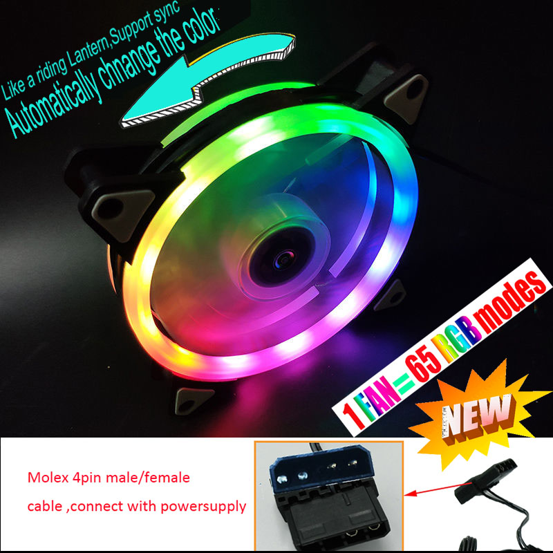 65 Modes RGB Case Circle Cooling Fan Cpu Led Fan Automatically Switch Support Sync 120mm 12cm With RGB LED Ring For Pc Cooler