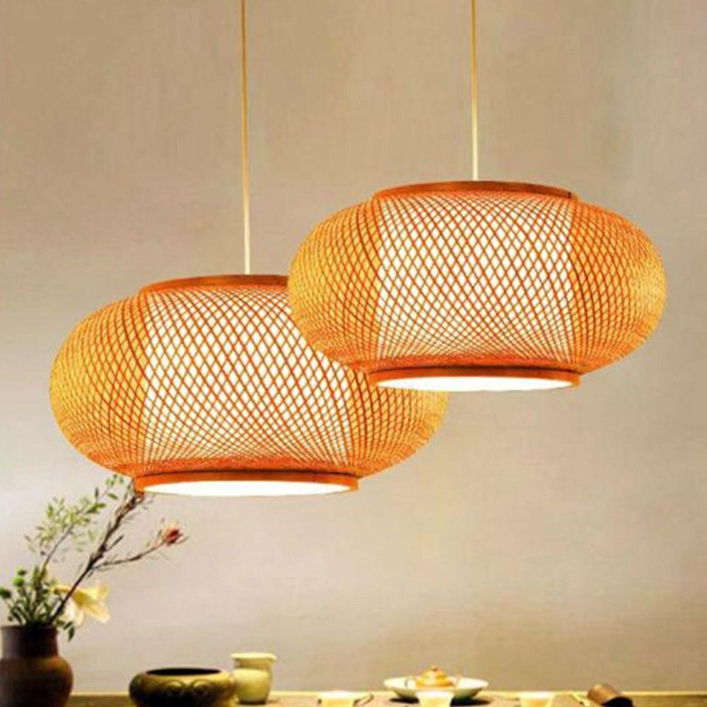 Lampe suspendue à la main en bambou tricoté à la main luminaires de cuisine Suspension maison salle à manger intérieure moderne LED en bois Suspension - 2