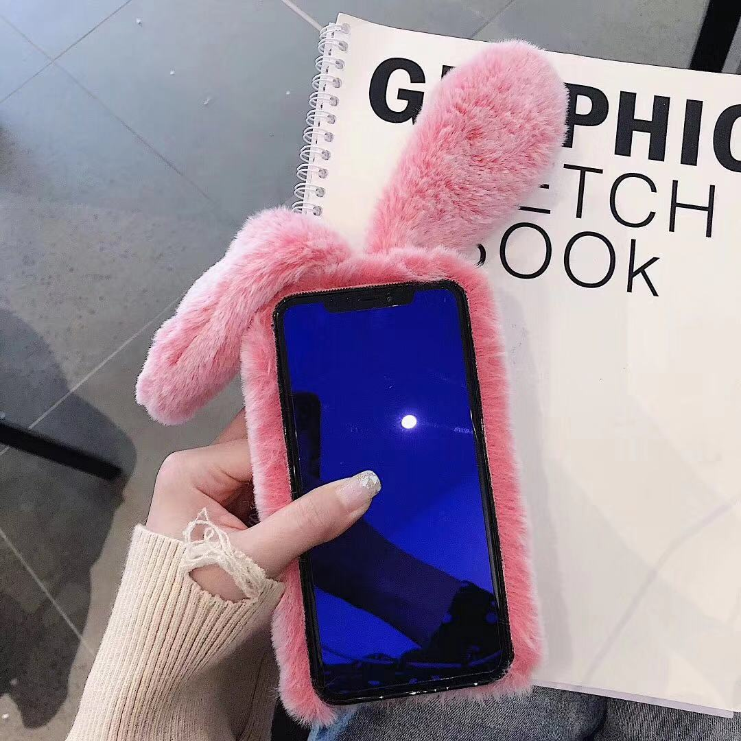 Image 5 - Winter Christmas Furry Warm Phone Case for iPhone XS Max X XR 11 Pro 6 6s 7 8 Plus 11 11Pro Max Rabbit Ears Soft Back Cover Capa