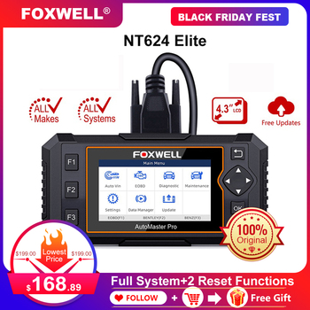 Foxwell NT624 Elite OBD2 Scanner Full System OBDII Car Diagnostic Tool EPB Oil Light Service Reset ODB2 OBD 2 Automotive Scanner [authorization distributor] autel maxidiag elite md802 all system ds model full system ds epb ols data stream dhl free shipping