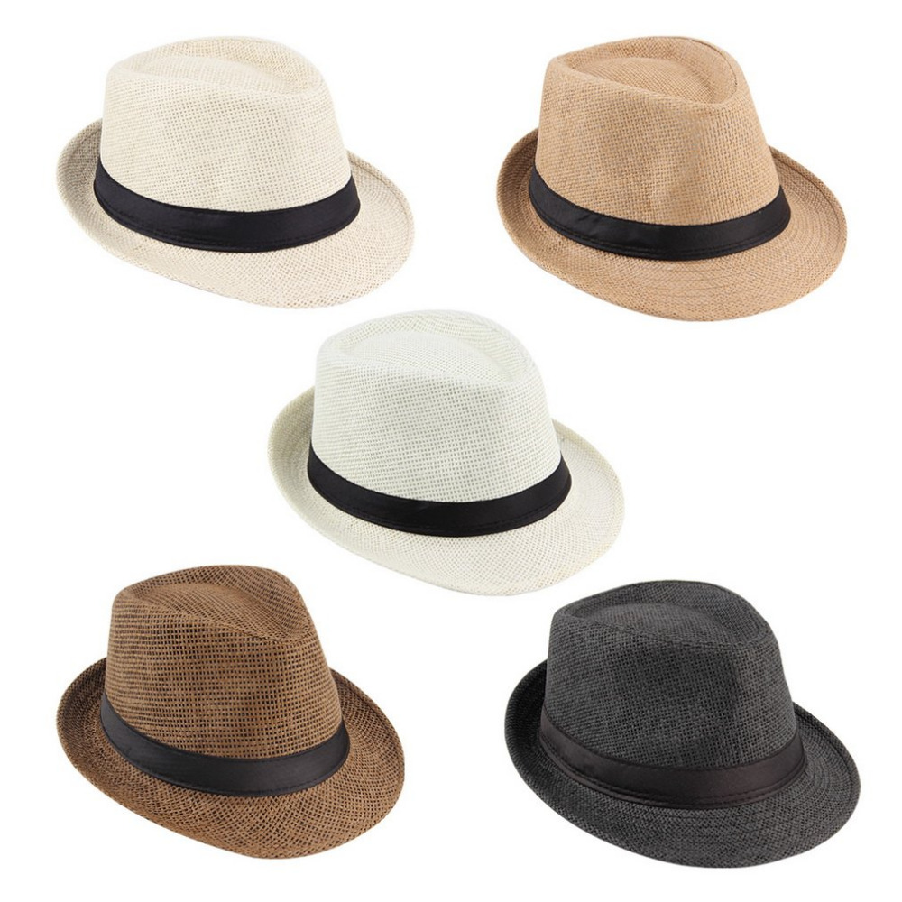 Summer Bucket Hat Men Women Straw Hat Beach Sunhat Fedora Trilby Straw Panama <font><b>Gangster</b></font> Caps Fit For Women Men image