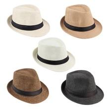 Summer Bucket Hat Men Women Straw Hat Beach Sunhat Fedora Trilby Straw Panama Ga