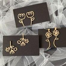 AOMU-pendientes de Metal de crisantemo para mujer, línea abstracta geométrica Simple, Color dorado, flor de racimo, tulipán, 2020