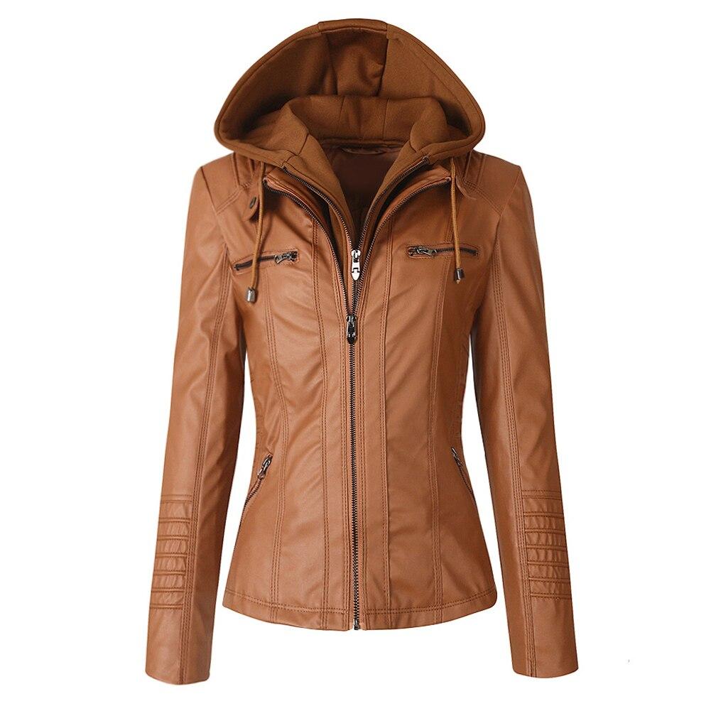 Faux Leather Jacket Women Hoodies Gothic Motorbike Basic PU Jacket Coats Outerwear Hooded Zipper Waterproof Ladies Coat 6