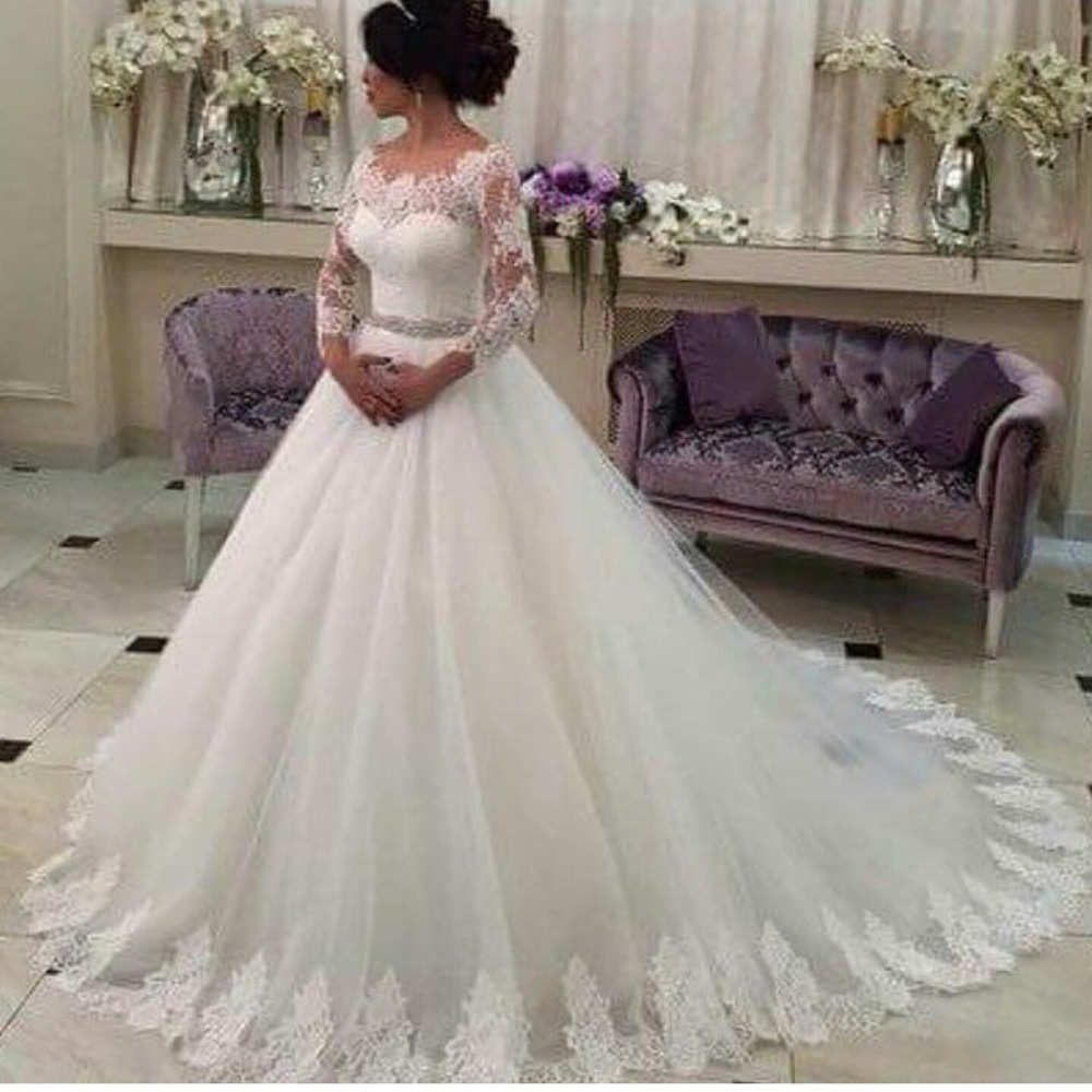 Hot Sale White Long Sleeve Ball Gown Wedding Dresses Tulle Applique Lace Bridal Gowns Zipper Sweep Train Trouwjurken