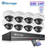 Techage H.265 8CH 5MP POE NVR CCTV System Vandalproof 5MP Indoor Dome Audio IP Camera P2P Video Security Surveillance Set 2TB HD