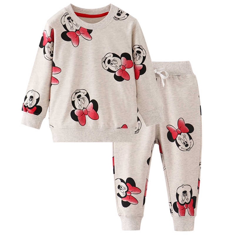 2019 Spring Autumn Baby Girls Minnie Clothes T-shirt + Pants 2Pcs Cotton Girls Casual Suits Children Cartoon Print Clothing Sets