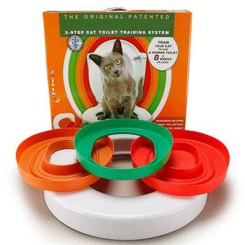 Cat Toilet Training Kit Plastic Pet Litter Box Tray Set Professional Puppy Cat Cleaning Trainer Cat Training Human Toilet Seat