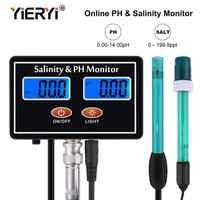 yieryi Online PH & Salinity Monitor 2 in 1 ph meter&Salinity Tester for Aquarium pool spa seawater horticultural water Quality