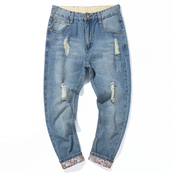 Destroyed Ripped Jeans Men 2020 Korean Mens Hole Casual Denim Trousers Spring Thin Harem Long Pants Male