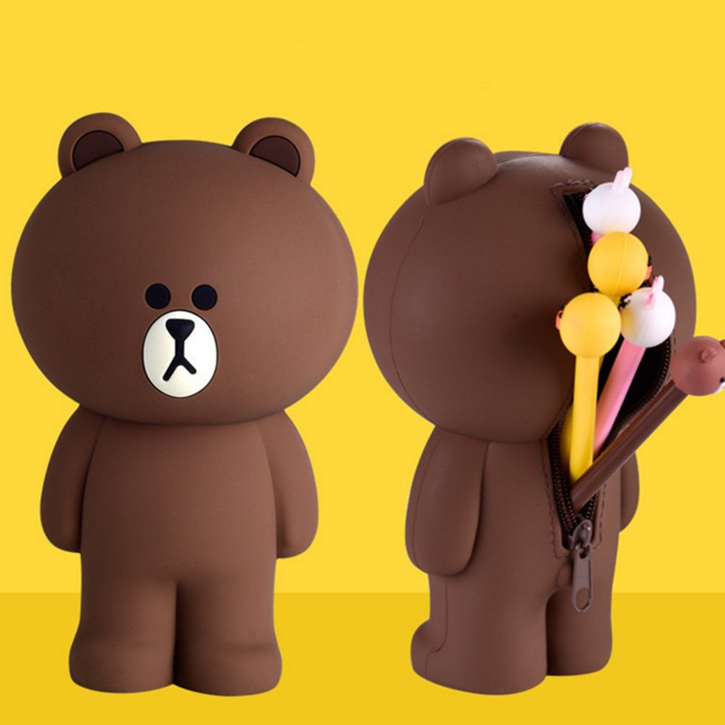 Cartoon Silicone Pencil Case Container Pencil Bags Brown Bear Rabbit 3D Pencilcase School Supplies Stationery Gifts K1287 F