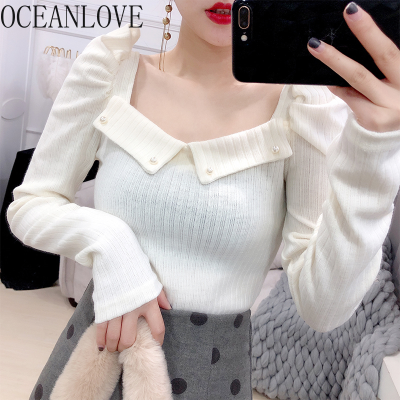 OCEANLOVE Beading Pearls Pullovers 2020 Spring Solid Puff Sleeve Sweaters Women Sexy Office Lady Ins Fashion Pull Femme 13586